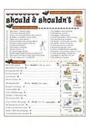 English worksheet: MODAL VERBS - should, shouldn´t