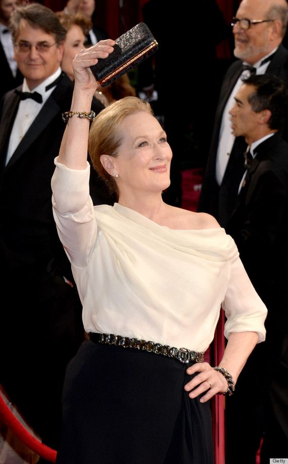 Meryl Streep waves to the crowds as she hits the red carpet at the 2014 Academy Awards held at the Dolby Theatre on Sunday (March 2) in Hollywood. Description from justjared.com. I searched for this on bing.com/images