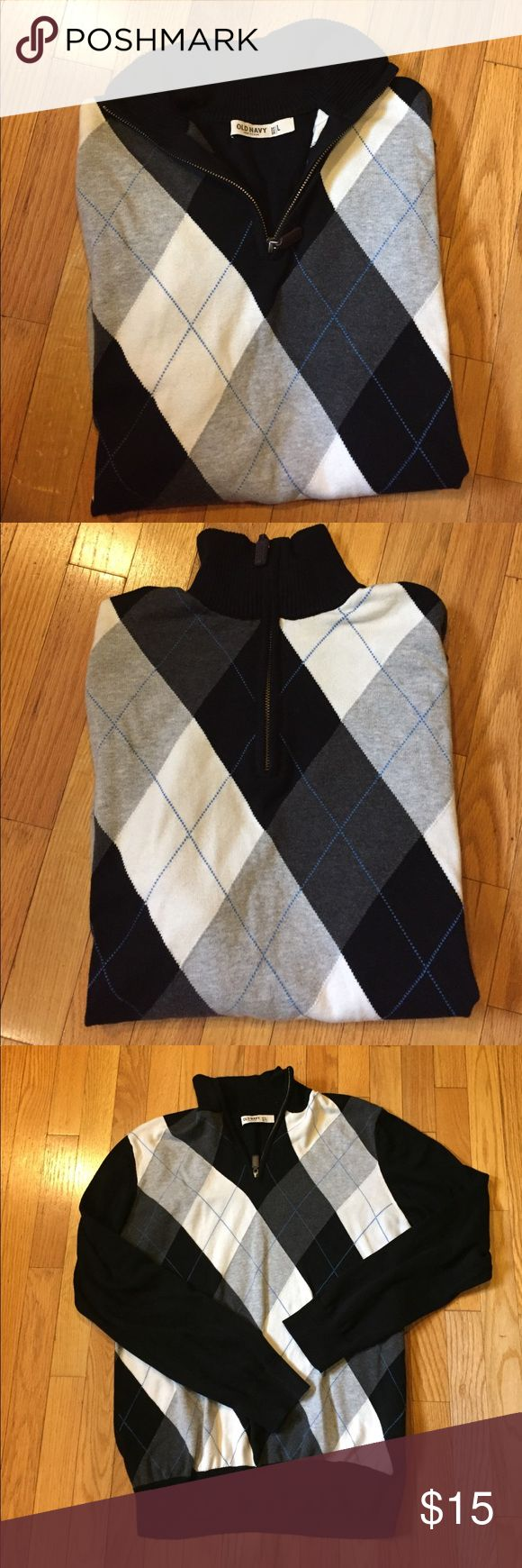 Old Navy Men's Pullover Zip Sweater L Old Navy Men's Pullover Zip Sweater; size Large; half zip at neck; argyle design on front/plain back; EUC; 100% cotton; lightweight Old Navy Sweaters V-Neck