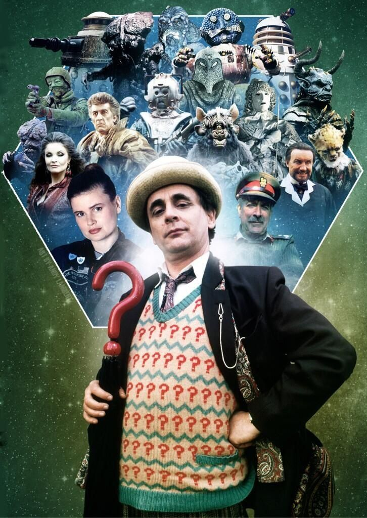 Sylvester McCoy as the Seventh Doctor - With many of his foes and allie depicted, just a great picture.