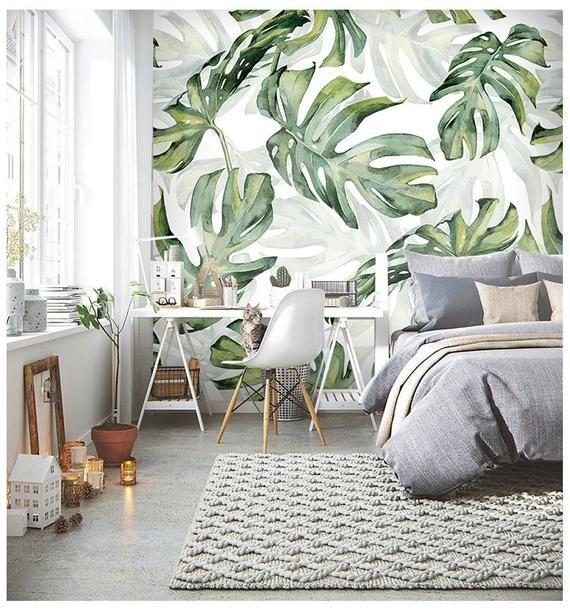 Rainforest Tropical Green Leaves Wallpaper Wall Murals, Tropical Palm Leaves Green Tropical Plants Wall Murals Wallpaper for Home Decor