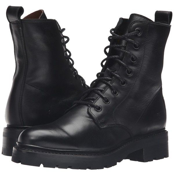 Frye Julie Combat (Black Soft Full Grain) Women's Boots (£300) ❤ liked on Polyvore featuring shoes, boots, long black boots, black platform shoes, army combat boots, long boots and shiny combat boots