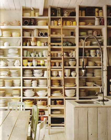 Open kitchen cabinets for easy storage