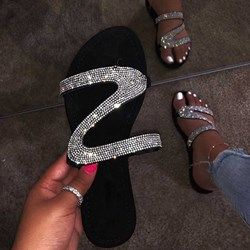 Shoespie Rhinestone Slip-On Summer Slippers