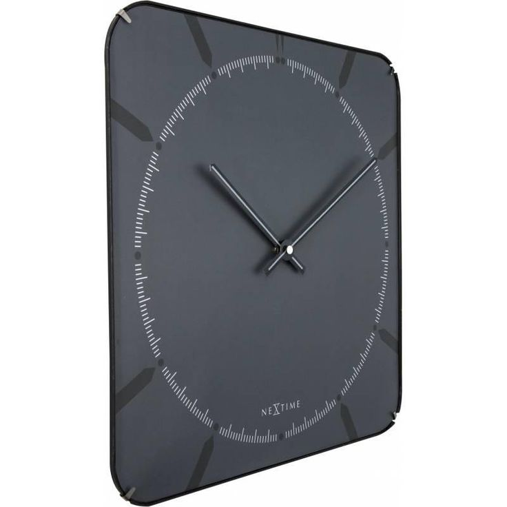 Buy NeXtime Square Glass Dome Michael Wall Clock Grey 35cm Online - Oh Clocks
