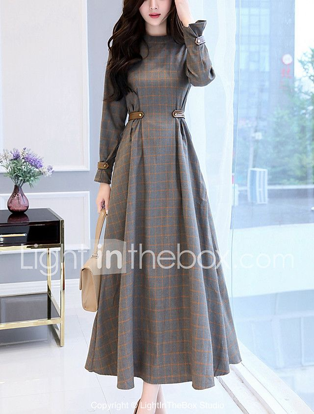 Women's Swing Dress - Check Patchwork High Rise Maxi Stand 2018 - $181.55