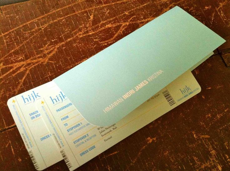 wedding invitation: boarding passes + sleeve