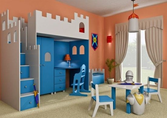 bluish with office desk. I don't have kids, but I'm STILL love this!  I kind of want this bed for myself. Haha!