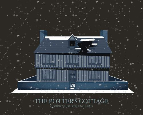 """Penley also included places that rarely show up in the books, like the Potters' cottage in Godric's Hollow. 