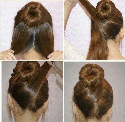 Easy bun with a twist.