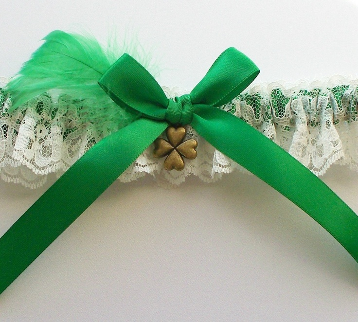 Irish Wedding Garter With Emerald Green And Shamrock