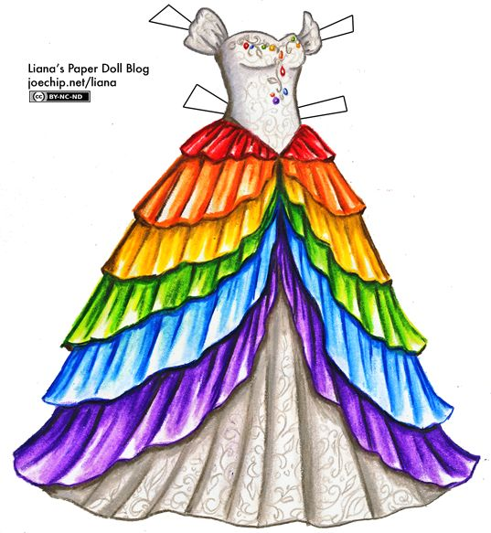 A white gown with a sweetheart neckline and off-the-shoulder poofed sleeves. The bodice is covered with a lacy pattern, and different colors of gemstones scattered along the edge and trailing down towards the waist. The full skirt is covered with seven layers, one for each color of the rainbow, with red near the waist, then orange underneath it, then yellow, green, blue and finally purple. Each layer is longer than the one before, and they split at the front of the gown to reveal the white…