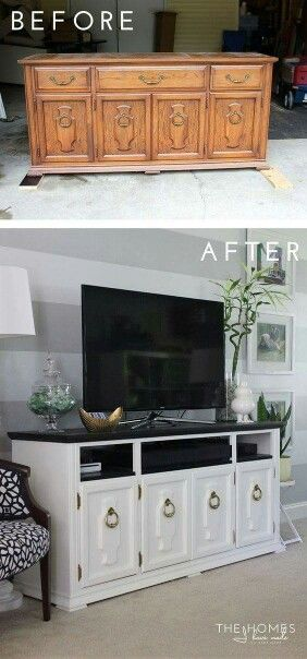 � entertainment center made out of an old dresser. TV stand diy follow for more restoration ideas.