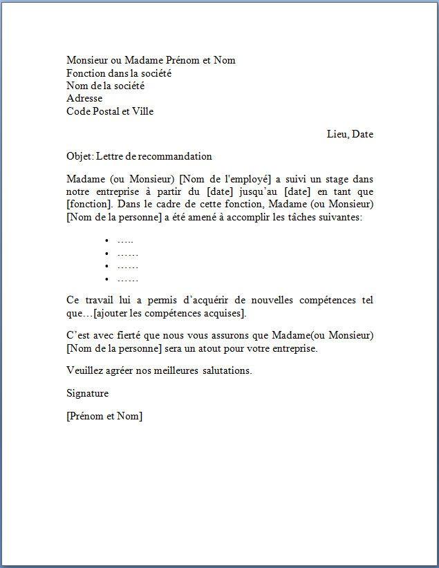 lettre de recommandation suite  u00e0 un stage