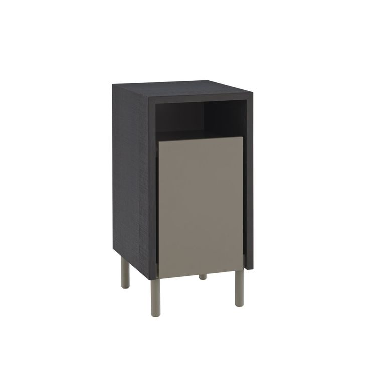 Dualist Bedside or Sofa end Table. W30 x D 35 x H 59 cm Rather useful new item with high pull-out drawer. Main frame finished in rough 'sawn' oak left natural or stained anthracite. Drawer front in argile lacquer. Fully finished at the rear in argile lacquer.