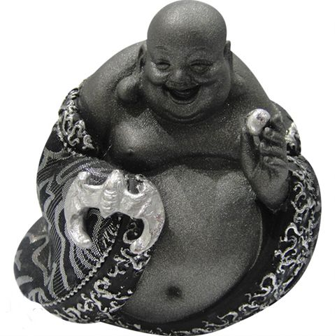 Happy Fortune Buddha by Willow Hall from Absolute Angels Classic laughing buddha pose in black and silver Approx 11 cm £5.00 + p&p #buddha #buddha ornament