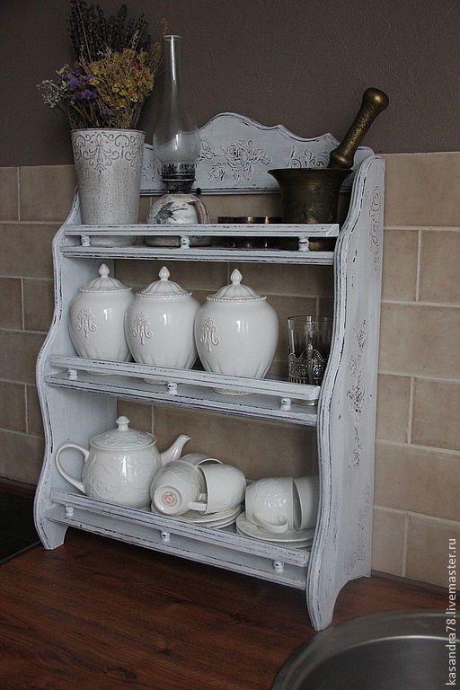 Купить или заказать Полочка кухонная Прованс в интернет-магазине на Ярмарке Мастеров. Кухонная интерьерная полочка Прованс подойдёт для интерьера кухни в стиле шебби-шик или прованс.Ручная работа.Авторский дизайн…