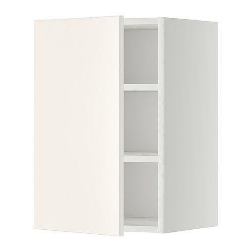 IKEA - METOD, Wandschrank mit Böden, weiß, Veddinge weiß, 40x60 cm, , Mit versetzbarem Boden; der Abstand dazwischen kann dem Bedarf angepasst werden.Die Tür kann wahlweise mit der Öffnung nach rechts oder links montiert werden.Das Grundelement ist stabil konstruiert: 18 mm stark.Dank der Schnappscharniere lassen sich die Türen einfach ohne Schrauben montieren und zum Reinigen leicht abnehmen.