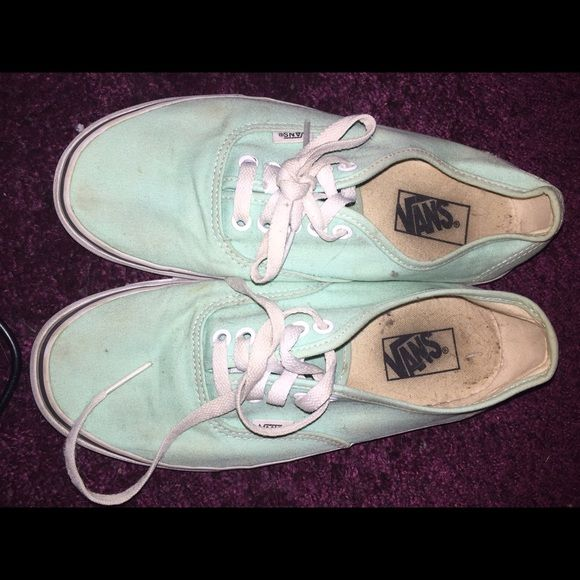 Teal vans lace up Super cute colored vans! Very comfortable. A little dirty but still in great shape Vans Shoes Sneakers