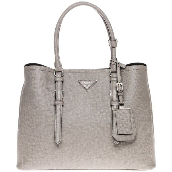 Pre-owned Prada Grey Tote Bag ($2,676) ❤ liked on Polyvore featuring bags, handbags, tote bags, grey, leather purse, gray leather tote bag, grey leather purse, genuine leather handbags and leather key ring