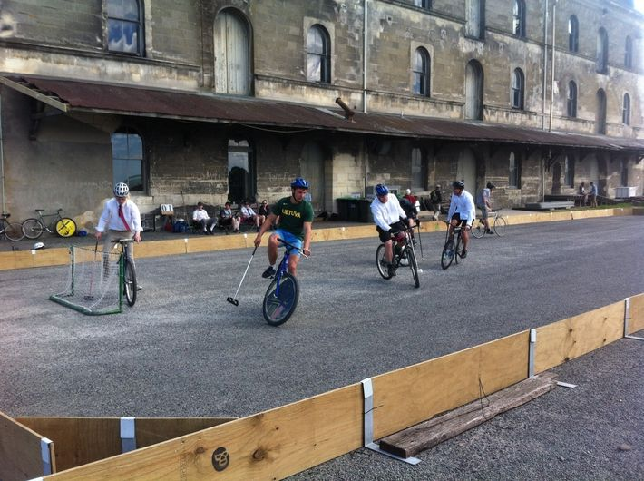 Enjoy watching bike polo, part of Oamaru's Victorian Heritage celebrations. Held annually in November in Oamaru, New Zealand #victorianparade  Find out more on our blog: http://www.thebusstop.co.nz/blog/celebrating-oamarus-victorian-heritage