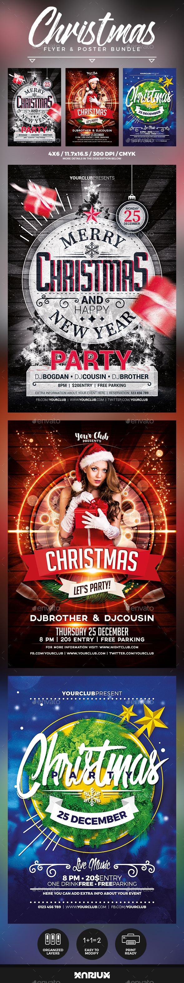 Christmas Flyer and Poster Bundle Template