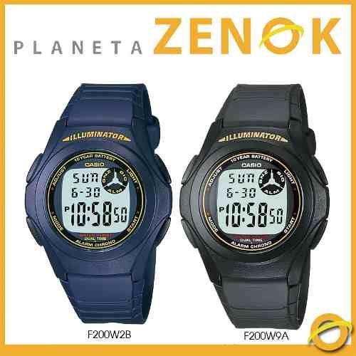 reloj casio f-200w digital hora dual cronometro luz 10 años