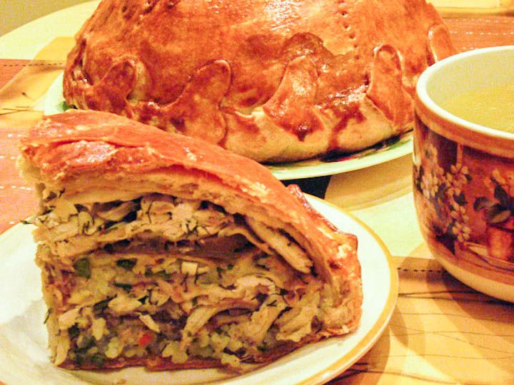 Russian #Kurnik can be compared with double crust chicken pot pie – in fact, it is a pie made of  blinis and covered with crust from all the sides.