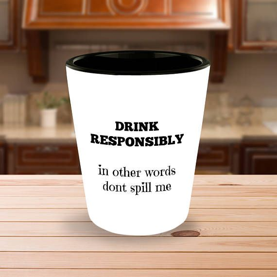 Funny drink responsibly ceramic shot glasses gift for drinkers | Funny shot glass | Vodka drinker | Gin drinker | Wine drinker