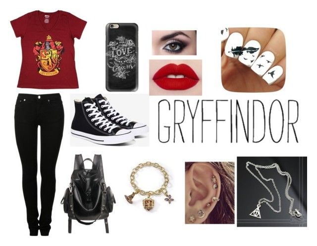 """Gryffindor Harry potter fan"" by valerie-solangelo on Polyvore featuring MM6 Maison Margiela, Converse and Casetify"