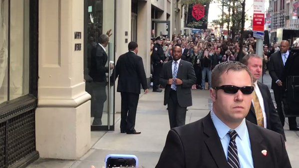 """Allan Smith on Twitter: """"President Obama leaving 160 5th ave just now https://t.co/kowtqnif9W"""""""