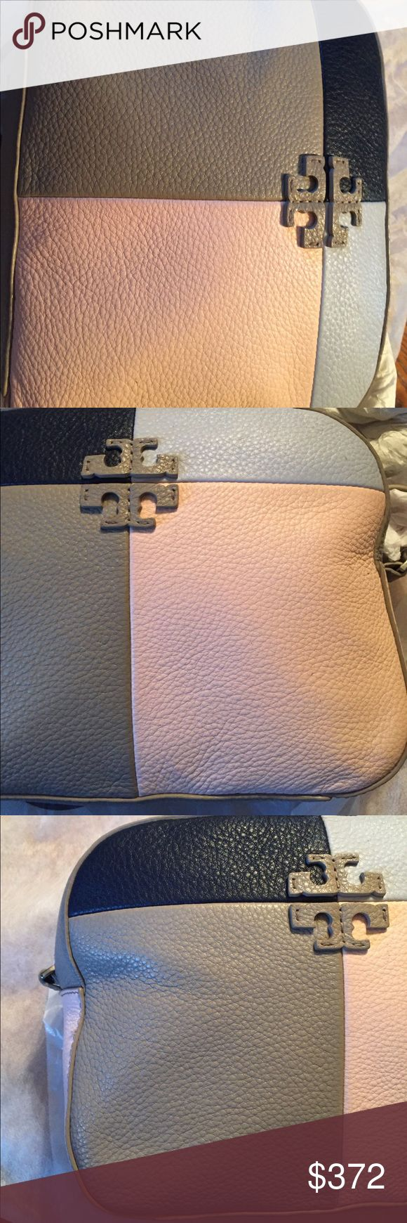 Tory burch Thea camera bag practically new Tory burch Thea bag great fun crossbody adjustable strap et removable tassels selling for my cousin holds an iPhone agenda roller ball makeup bag has interior zipped pocket pebble leather blue grey salmon and tan gorgeous colors this was the local Bloomingdales store sample no damage rips tears stains etc in perfect condition selling price final  no offers/trade pls color French gray multi silver original price at Bloomingdales was $475  I purchased…