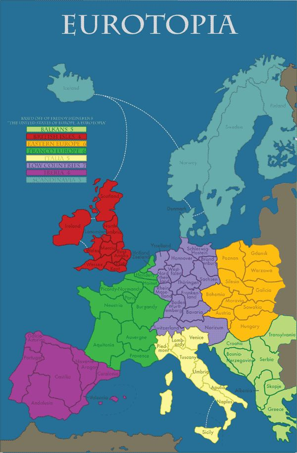 """EUROPE subregions based on Freddy Heineken's book """"The United States of Europe, A Eurotopia?"""""""