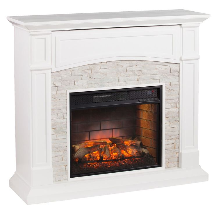 Salski Infrared Electric Fireplace, White