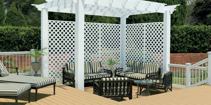 Pergolas On Decks with Railings white | Composite deck with white lattice pergola