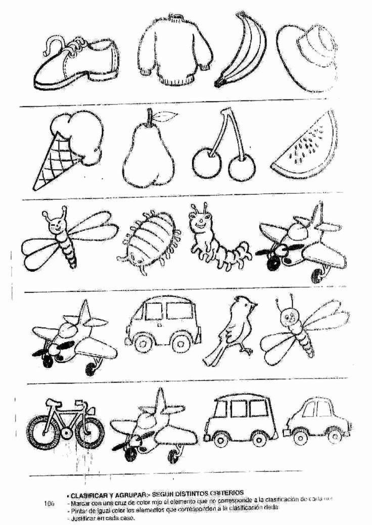Actividades para niños preescolar, primaria e inicial. Fichas para niños para imprimir con dibujos para relacionar y pintar. Relacionar y Pintar. 52