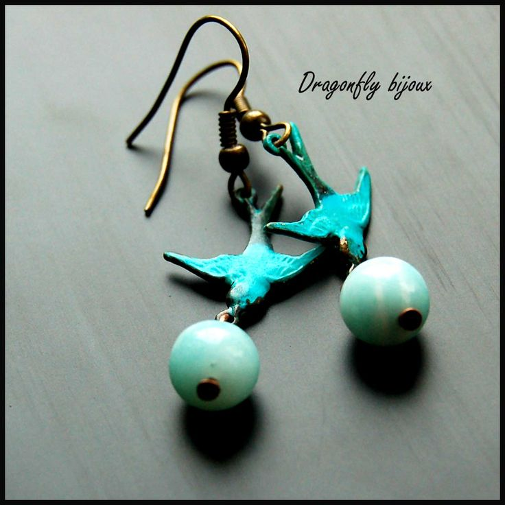vintage handmade earrings swallows