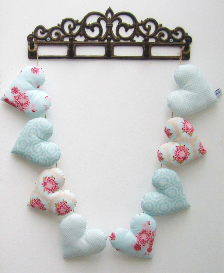 Heart Garland made from TILDA fabric - £20