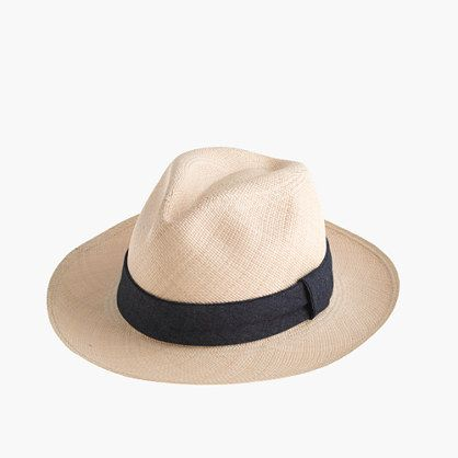 Paulmann™ panama hat with indigo band by J.Crew | his one is from Paulmann Hats & Accessories (one of the most authentic makers of the classic style), and it's handmade using the finest strands of natural toquilla straw, so each one is truly unique. We dig it not only because it's great-looking, but it's also finished with a cool indigo band, and that's right up our alley. Natural toquilla straw, cotton chambray.