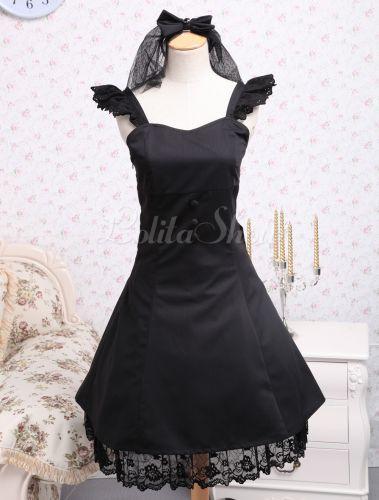 Vestido negro de lolita de algodón con tirantes de estilo gótico - Lolitashow.com