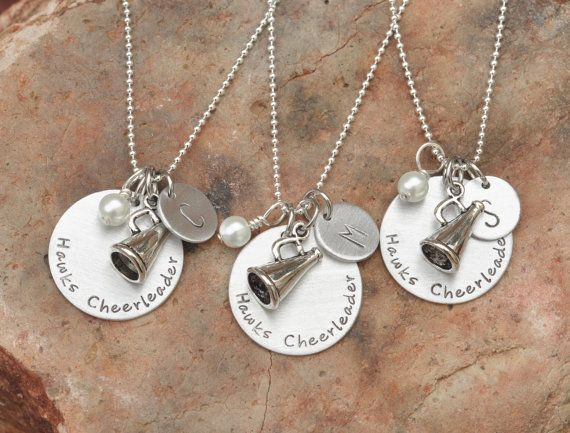 Hand stamped cheerleading necklace - Cheer - Cheerleaders - Necklace on Etsy, $22.00