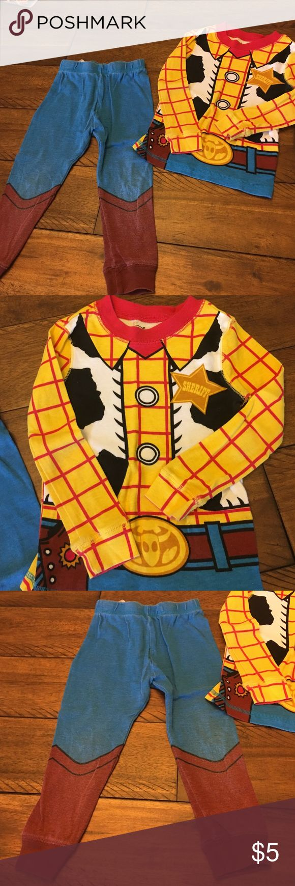 Sheriff Woody Pajama Set Disney pajamas!  Pants are slightly faded but no stains and shirt is in great condition! Disney Pajamas Pajama Sets