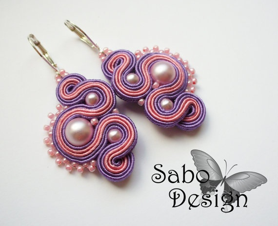LILAC   soutache earrings handmade embroidered in by SaboDesign, $33.00