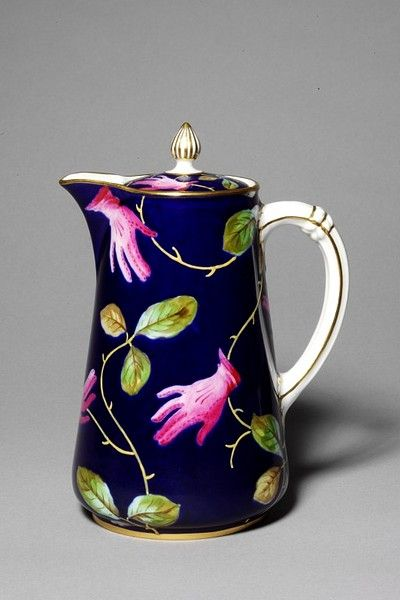 Hot water jug. Part of a service designed by Salvador Dali for poet, artist and patron of Surrealism, Edward James. Royal Crown Derby, 1938. (via Victoria & Albert Museum)