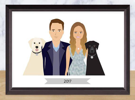 Couple Portrait Custom Drawing Personalized Illustration - SavetheForest Illustration