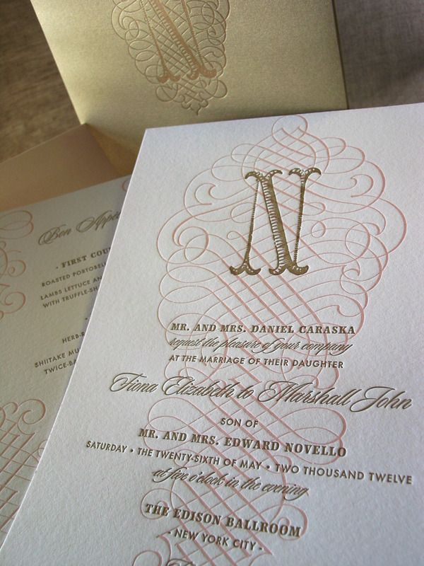 custom wedding invitations new york city%0A beautiful scroll motif   monogram letterpress invitation from elum designs   invitation solutions carries this elegant ensemble