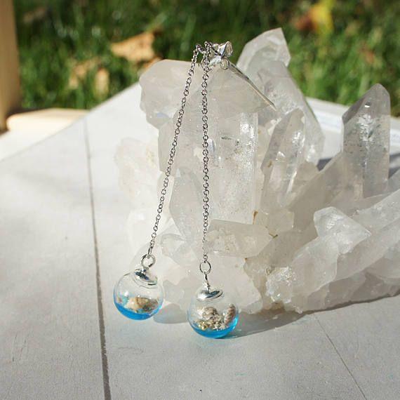 Mermaid Tears Earrings Seashell glass earrings Seashell drop