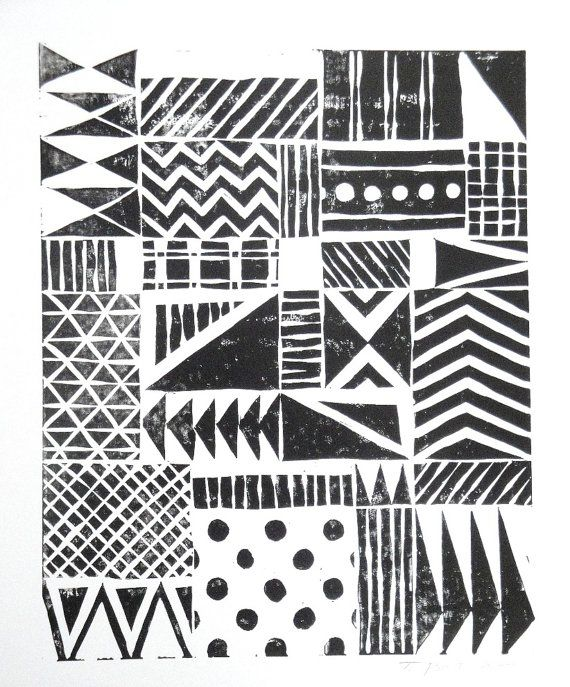 SALE - Print - Various Fun Patterns Linocut / 8 x 10 Wall Art / Black, Gold, Silver, Blue, Green, Yellow, Red - Toni Point on Etsy