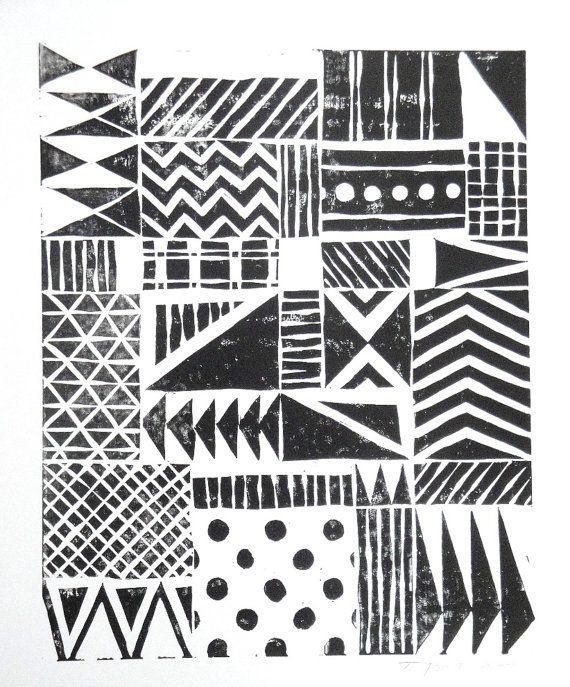 Print - Various Fun Patterns Linocut / 8 x 10 Wall Art / Black, Gold, Silver, Blue, Green, Yellow, Red