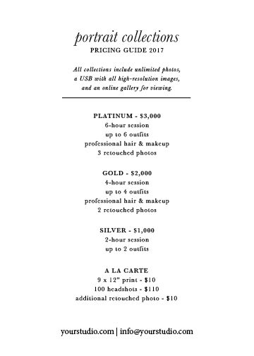 Price sheet template for photographers. Click to download, and for tips on packaging your photography services. For portraits, headshots, wedding photographers and more.